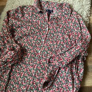 Strawberry button down shirt gap boyfriend fit